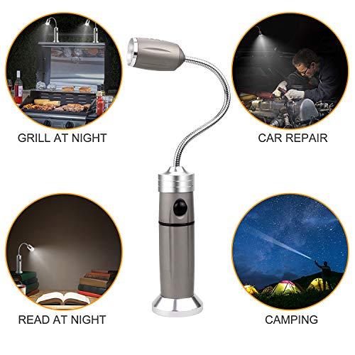 51NiVh gYQL - AimTop LED Grill Licht, 2 Pack Magnetische BBQ Licht Flexibel Grill Lampe 360°Verstellbare Outdoor Grill Lichter Grillen Zubehör mit 5 Beleuchtungsmodi, Grill Taschenlampe Arbeitsleuchte
