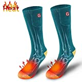 Elektrische beheizte Socken Kit Beheizte Herren Socken Unisex warme thermische Socken Akku Fußwärmer Winter ideale Geschenke für Männer Frauen (Grünes Gelb)