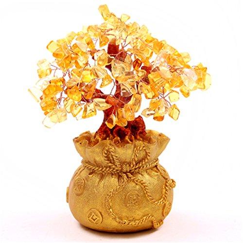 Soprammobile feng shui, colore: giallo citrino, a forma di albero in un portamonete portafortuna, sku: h1011