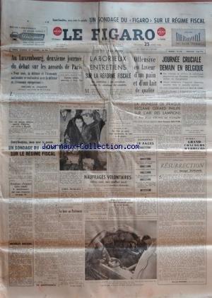 FIGARO (LE) [No 3280] du 25/03/1955 - 2eme journee du debat sur les accords de paris , declaration de champex 340 militaires rapatries d'indochine sont arrives a marseilles la foire aux puces a matignon explosion atomique souterraine a yucca flats sondage sur le regime fiscal par lecerf la boxe au parlement par ravon les naufrages volontaires par cressard 2 suedois battent le record du monde aerien en circuit ferme resurrection par duhamel la jeunesse de prague reclame gerard philippe sur l'ai par Collectif