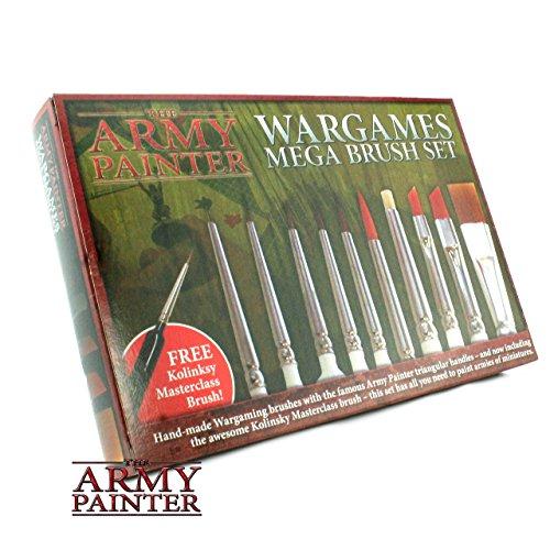 The Army Painter 10 Miniature Paint Brushes with Free Masterclass Kolinsky Sable Hair Brush - Durable Miniatures Paint Brush Set, Wargamer Brushes with Comfortable Grip - Wargames Mega Brush Set