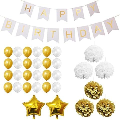 33-tlg. Dekorationen-Set - Gold und Weiß - Pom-Poms, Happy Birthday Banner, Latexballons & Folienballons von Belle Vous - für Geburtstag, Kinder-Partys, Baby-Partys, Abschlussfeiern und Hochzeitsfeiern - Großpackung Dekorationen Zubehör für Mädchen, Jungen &