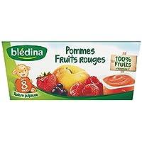 Blédina Coupelles de Fruits Pomme Fruits Rouges dès 8 Mois 4 x 100 g