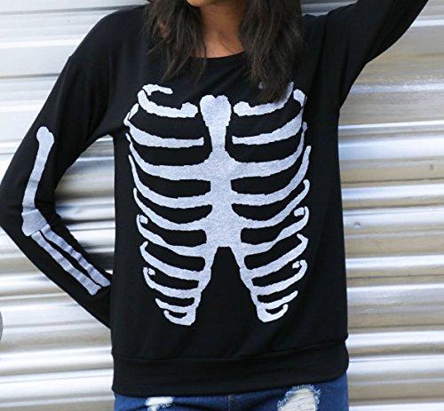 ... erdbeerloft - Damen Basic Longsleeve mit Knochen Skelett Print, XS-L, Viele  Farben