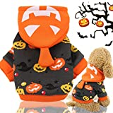 Idepet Halloween Pet Hoodie Coat, Pumpkin dog Costume Fleece winter Coat Jackets Sweater for small medium dogs cats puppy