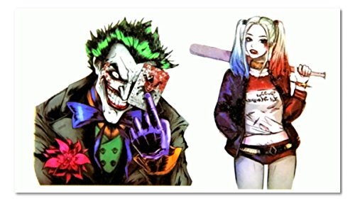 EROSPA® Suicide Squad - Joker und Harley Quinn Tattoo temporär - Aufkleber Körperkunst abziehbar - Karneval Fasching