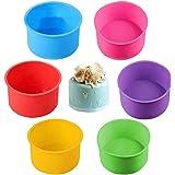 6 moldes redondos de silicona para hornear tartas antiadherentes de 10,1 cm (amarillo, azul, morado, rosa, rojo, verde)