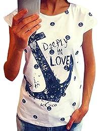 QHGstore Mujeres T Shirt Plus Size Casual Carta Impresión Anchor Tops de algodón de manga corta camiseta Blanco oblicuo XL