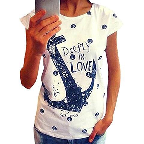 Befaith Frauen T Shirt Plus Size Casual Letter Print Anchor