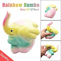 Squeeze Toy, Weant 15cm Rainbow Dumbo Cream Scented Squishy Decompression Anti-Anxiety Slow Rising Squeeze Stress Relieving Toys for Kids Adult Gift