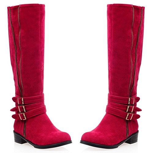 TAOFFEN Damen einfache elegante flache Schuhe Mitte der Wade Stiefel mit Reißverschluss und Schnalle Rot