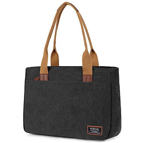 FOSTAK Damen Handtasche Umhängetasche Aktentasche Messenger Bag Reisetasche stilvoll Shopper Frauen Tasche Schultertasche Tote Bag/Business Arbeitstasche Laptoptasche für 15 Zoll Laptop,Canvas Schwarz