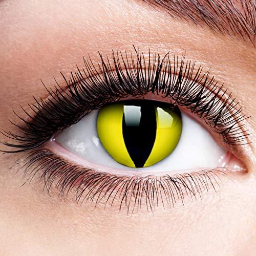 Farbige Kontaktlinsen mit Stärke Motiv Gelbe Linsen Halloween Karneval Fasching Cosplay Gelb Yellow Cat Eye Cateye Katzenaugen Katze Drache - 4 dpt