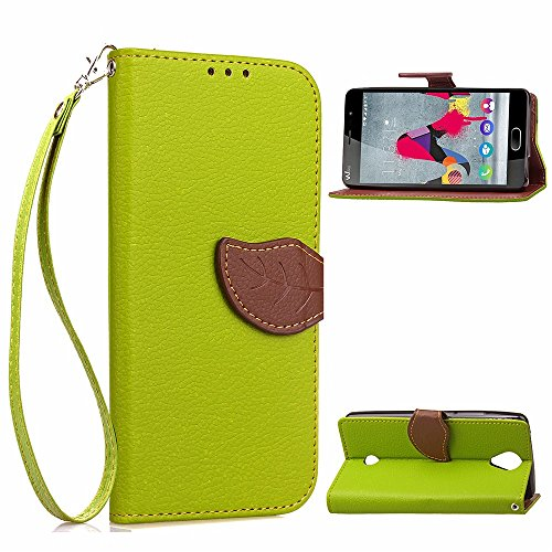 EKINHUI Case Cover Mix und Match Color Leaf Magnetic Buckle PU Ledertasche Brieftasche Stand Pouch Cover mit Lanyard für Wiko U Feel ( Color : Brown ) Green