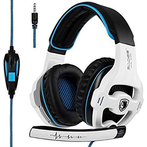 GSLSY Sades SA810 Over-Ear-Stereo-Headset mit Geräuschisolierung, für Xbox One PC PS4 Laptop Handys (Sades SA810) Weiß/Blau