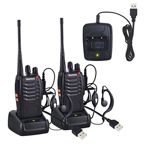 Neoteck 2 x Talkie Walkie Deux Voies Radio UHF 400-470MHz Walkie Talkie Avec Ecouteurs Originaux Transmetteur Portatif FM 16 Chaînes Pour Randonnée Aventures Avertissement 0753807579834