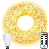 LED Outdoor String Lights Ollny 800 LEDs 100m Fairy String Lights for Weding Party Garden Patio Christmas Decorations 8 Lighting Modes Plug in Warm White