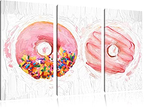 Glazed Donuts Brush Effect 3 PC Canvas picture 120x80 image on canvas, XXL huge Pictures (Fragola Caffè Aromatizzato)