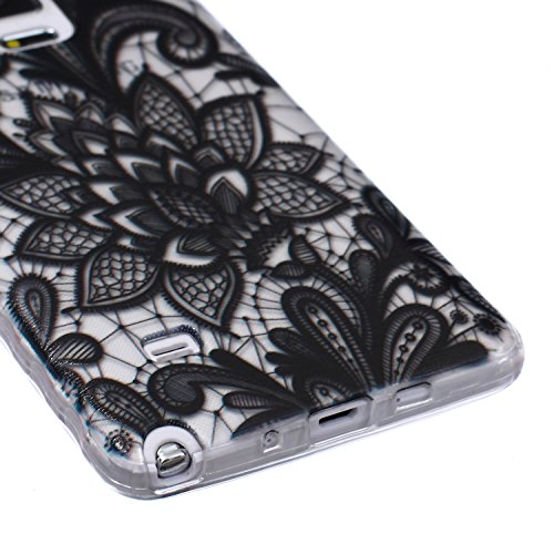 Samsung Note 4 Silicone Housse - Felfy Clair Ultra mince Slim Coque Pour Samsung Galaxy Note 4 papillon blanc Clear Crystal Gel Souple Soft Flexible TPU Silicone Etui Protective Bumper Cas Cover Trans Noire Rose