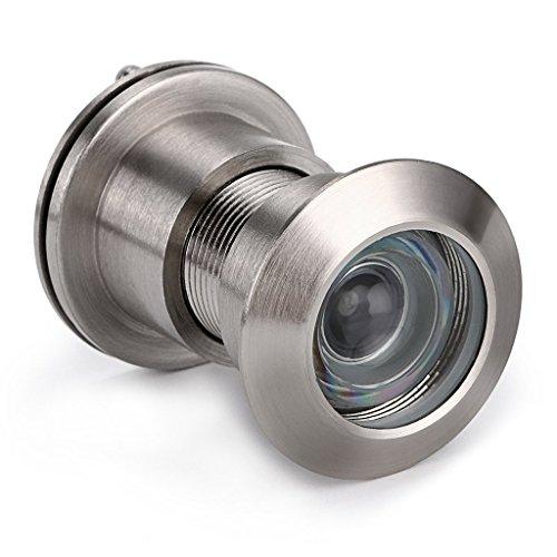 Ignpion Türspion, 220-Grad-Spionloch, mit Sichtschutz für Türen von 42 mm bis 55mm, gebürstete Chrom-Oberfläche Peephole