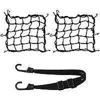 Coquimbo 2 Stück Motorrad Netz Motorrad Gepäcknetz Motorrad Helmnetz mit 6 Haken 40x40cm + 60cm elastisches Gepäckband für Motorrad Fahrrad zum Anbringen von Gepäck Helm Ballon Tasche Objekte