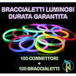 Palucart bracciali luminosi fluorescenti 100 braccialetti + 100 connettori bracciale fluo per feste