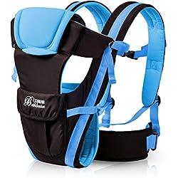0–30meses transpirable bebé Carrier frontal 4en 1lactante cómodo Sling Mochila bolsa para el bebé canguro nuevo azul azul