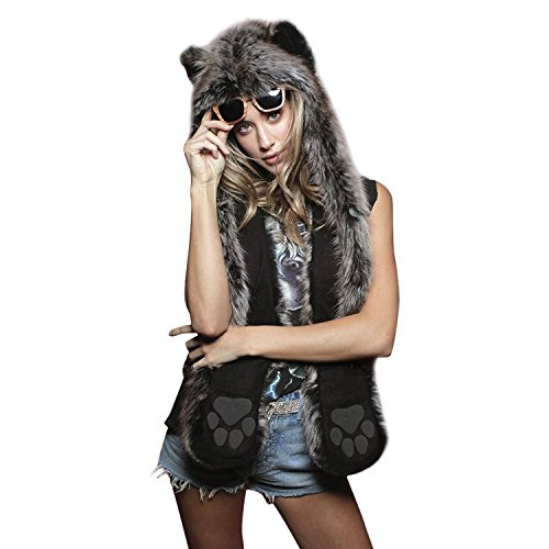 Petalum Damen Mütze Winter Warm Kapuzenschal Handschuhe Plüsch Tiere Bär Panda Wolf Paws Ohren Fellmütze (Wolf Winter)