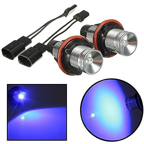 mark8shop 12V LED blau Scheinwerfer Angel Eyes Halo Ringe für BMW E39E53E60E64E66X3X5