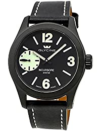 Glycine Incursore Manual Wind Black PVD Steel Mens Strap Swiss Watch 3873.99SL LB9B