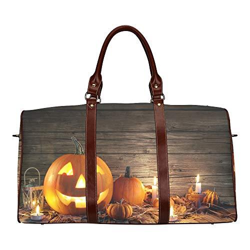 Reise-Seesack Halloween-Kürbis mit brennenden Kerzen wasserdichte Weekender-Tasche Reisetasche Damen-Einkaufstasche Mit Mikrofaser-Leder-Gepäcktasche