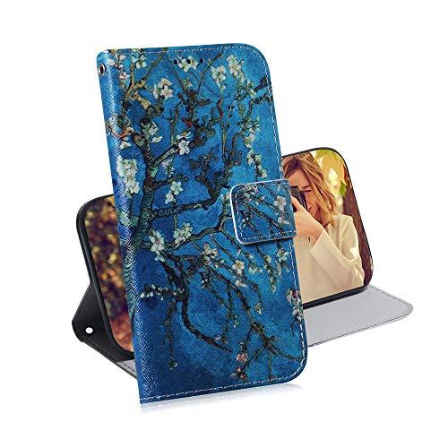 COTDINFOR Samsung Galaxy A10 Hülle Kreativ Art Painted cool Schutzhülle PU Leder Flip Bookcase Handy Tasche Schale mit Magnet Standfunktion Etui für Samsung Galaxy M10 / A10 Apricot Flower TX-CH. - Apricot Flower