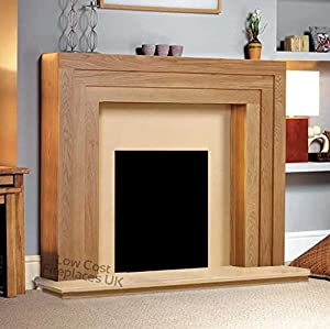 "Electric Oak Wood Surround Mantel Hearth Flat Wall Modern Fire Fireplace Suite 48"""