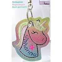 Rainbow EINHORN mit Namen personalisierbar Schlüsselanhänger Taschenanhänger tolles Geschenk f. Geburtstag Muttertag