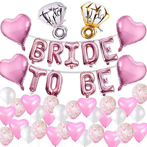 eko Ballons Rosa Set Helium Buchstaben Folienballons Bride to BE, Bachelorette Team Braut Partei Liefert mit Braut Folienballons für Tochter Mädchen Abschied Verlobung Party ()