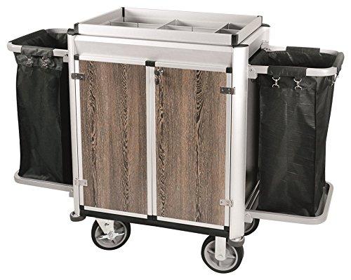 Zimmerservicewagen mit zwei Wäschesäcken, helle Kantenprofile & dunkle Holzoptik; PREMIUM-PLUS-QUALITÄT / 154,5 x 51 x 113,5 cm