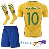 Barcelona Kids Jersey Home Kit, maglia da calcio gialla, pantaloncini e calzini e asciugamano in omaggio, per squadre di calcio, bambini, NEYMAR 10