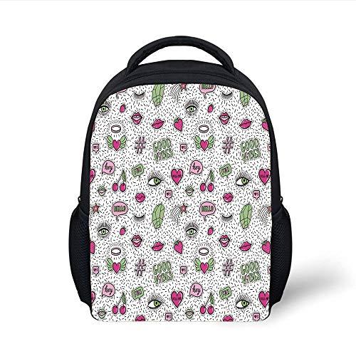 Kids School Backpack Good Vibes,Eighties Nineties Style Pattern Eyes Lip Star Strawberry Cherry Pop Art,Pink Green Black Plain Bookbag Travel Daypack
