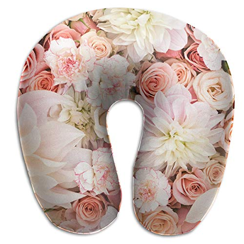 Great Gifts U Shaped Memory Foam Neck Pillow Neck Head Cushion Support Rest Outdoors Car Office Home Travel Pillow - Petal Roses Blush Pink -