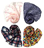 #5: Letz Dezine Printed Poly Cotton Set of four mullticoloured stoles; scarf and stoles for women