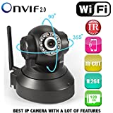 #4: Hotbux Ip Camera Sp005 Hd Wifi Onvif 1280 X 720P H.264 Two-Way Audio Infrared Night Vision Cctv With Built-In Microphone, (Black)