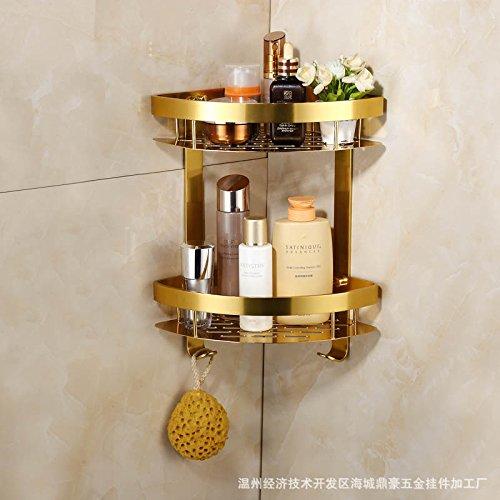 QUEEN'S Gold Copper Shower Delta Basket Double High Racks Continental Double Bathroom Storage Basket