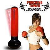Vetrineinrete Sacco da boxe gonfiabile da terra per allenamento arti marziali karate fitboxe boxing punching altezza 160 cm F11