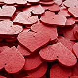 edelkern Holz Streuteile XXL - 50 x rote Herzen (50 x große Herz Teile) - Schöne Dekoration (Deko) zum Basteln (DIY) - 4