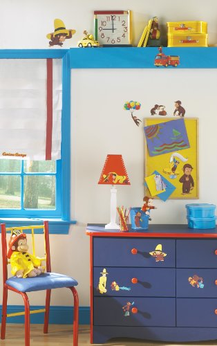 Image of RoomMates Children's Repositonable Wall Stickers, Curious George