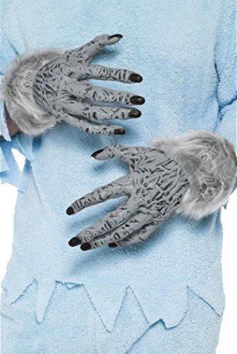 Handschuhe Hand-anzeige Für (Halloween Kostüm Party Erwachsene Werwolf unheimlich PVC Hand Handschuhe Grau)