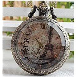 Glass Dark Brown Surface Flower With Paris Eiffel Tower Roman Flowers Watch With Long Necklace.