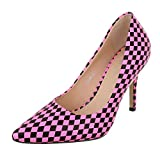 Ital-Design High Heel Damen-Schuhe Plateau Pfennig-/Stilettoabsatz High Heels Pumps Pink Schwarz, Gr 38, Ek-88-