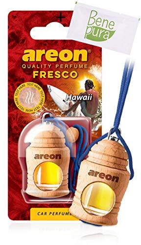 AREON auto deodorante profumo fresco profumo 4ml-Hawaii-appeso bottiglia diffusore con copertura in legno naturale, a lunga durat