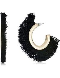 Accessorize A J Hoop Earrings for Women (Black)(MN-48593503001)